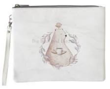 Leather Pouch- Crumpled Paper Coffee Bear