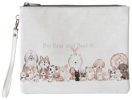 Leather Pouch- Friendly Puppies