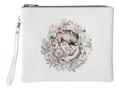 Leather Pouch- Sandalwood Wolf and Lotus Bear White